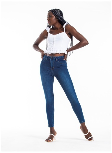 Tiffany&Tomato Yüksek Bel Skinny Jean Pantolon - Mavi Mavi